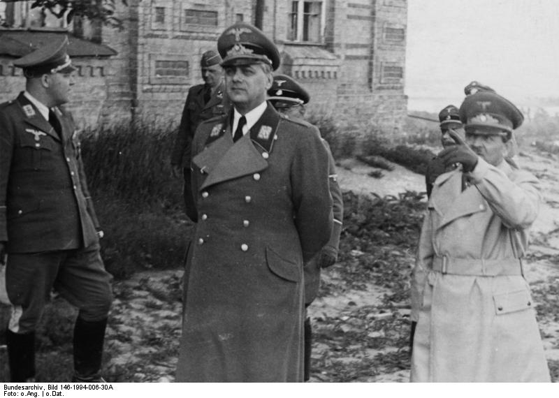Erich Koch (right) and Alfred Rosenberg (center) in Kiev, Reichskommissariat Ukraine