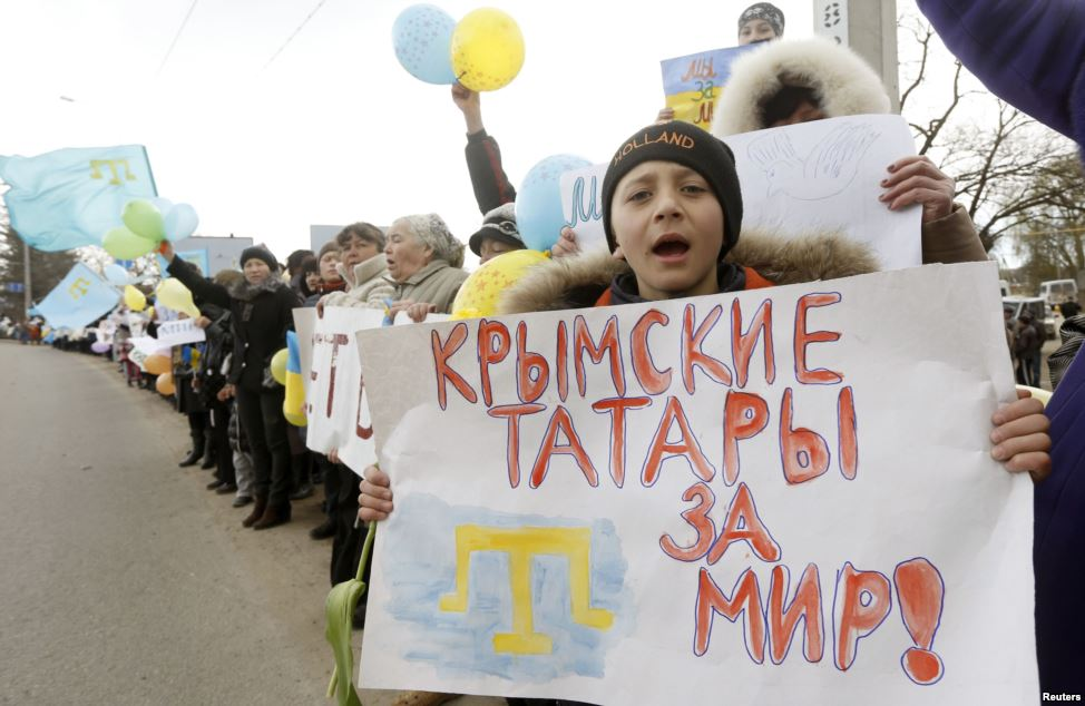 """Crimean Tatars want peace"" - Crimeans protest against Russian occupation, March 2014"