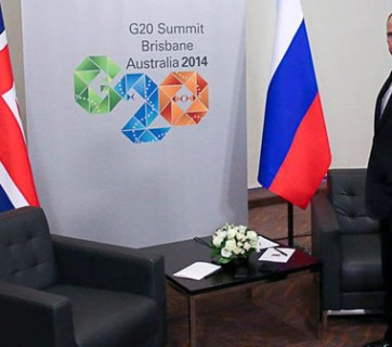 Putin at the G20 Summit in Brisbane, Australia in 2014