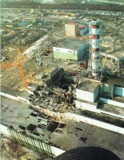 The nuclear reactor after the disaster. Reactor 4 (center). Turbine building