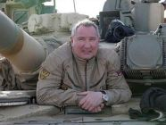 Russian deputy PM Dmitry Rogozin inspecting a Russian tank
