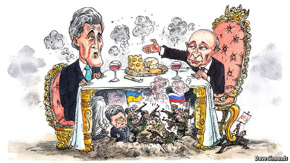 US Secretary of State John Kerry and Vladimir Putin dine in Sochi, while Russia is waging a war on Ukraine (Image: Dave Simonds, economist.com)