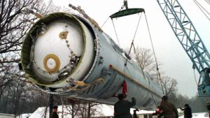 Disassembly of a Ukrainian nuclear missile SS-19 for following destruction in 1997. Ukraine's nuclear disarmament took place under the 1994 Budapest Memorandum on Security Assurances, providing security assurances against threats or use of force against the territorial integrity or political independence of Ukraine by its signatories, Russia, the United States of America, and the United Kingdom. China and France provided somewhat weaker individual assurances in separate documents. (Image: AP)