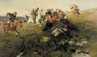 A Fight Between Ukrainian Cossacks and Crimean Tartars by Józef Brandt (1841 - 1915), Source: Wikimedia