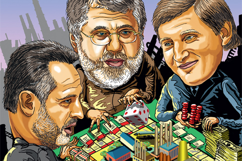 A caricature of the Ukrainian oligarchs Firtash, Kolomoisky, Akhmetov, from left to right