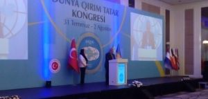 Mejlis President Refat Chubarov's opening speech to the Second World Congress of Crimean Tatars in Ankara, Turkey. August 1, 2015 (Image: QHA)