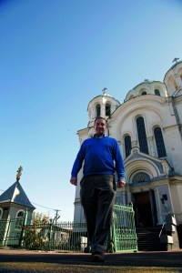 Michel Tereshchenko in front of the Cathedral of Three Anastasias in Hlukhiv