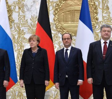 """The Normandy Four"": Putin, Merkel, Hollande, and Poroshenko"