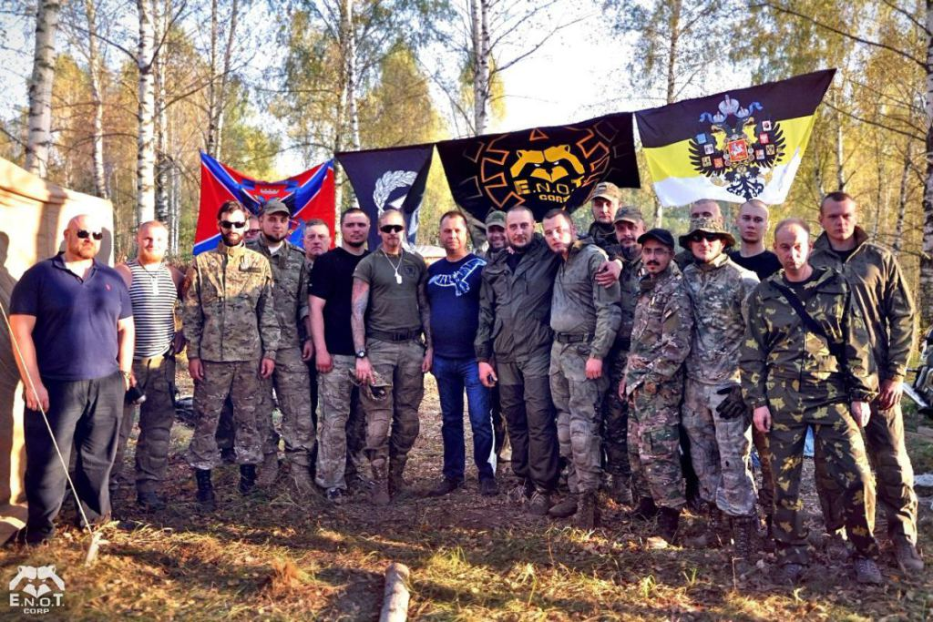 Aleksandr Boroday (center, in blue t-shirt), one of the organizers and and a former top official of the Russian occupation of the eastern Ukraine, visited the mercenary training camp in Chernogolovka and took numerous photographs with its participants. Moscow oblast, Russia, September 2015 (Image: ENOT Corp)