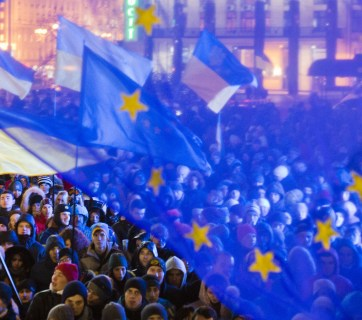EU flags above Euromaidan protesters in Kyiv, Ukraine. 27 November 2013