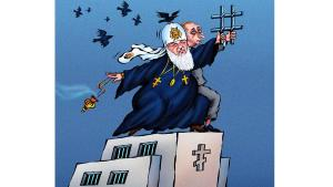 Political cartoon: Patriarch Kirill and Putin (horiz)