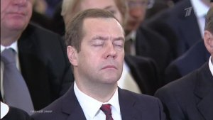 The prime minister of Russia Dmitry Medvedev sleeping during the December 3, 2015 Putin's address to the Russian parliament. (Image: asiarussia.ru)