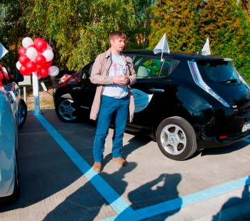 Opening of an electric charger station by the residence of an ex-president Viktor Yanukovych in Mezhyhirya.
