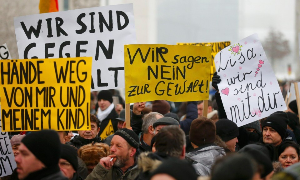 German-Russians protest in Berlin against alleged sexual harassment by migrants. Photograph: Hannibal Hanschke/Reuters