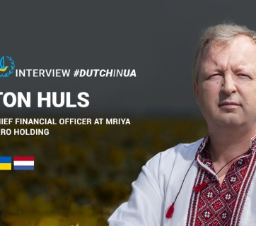 "Ton Huls, Chief Financial Officer at Mriya Agro Holding wearing Ukrainian national clothing ""vyshyvanka""."