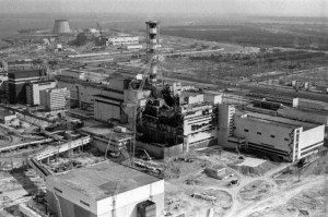 Aerial photograph of the damaged reactor at the Chornobyl Nuclear Power Plant, 1986 (Image: belaruspartisan.org