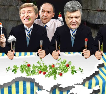 The richest Ukrainain oligarchs, from left to right: Dmytro Firtash, Rinat Akhmetov, Viktor Pinchuk, Petro Poroshenko, Ihor Kolomoyskyi. Graphics by: Ganna Naronina, Euromaidan Press