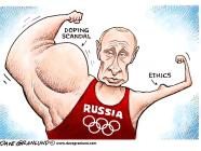 Political cartoon: Russian doping scandal. Putin's ethics.