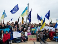 Ukrainians protest during Euromaidan in Paris, France. Photo from Wikimedia Commons