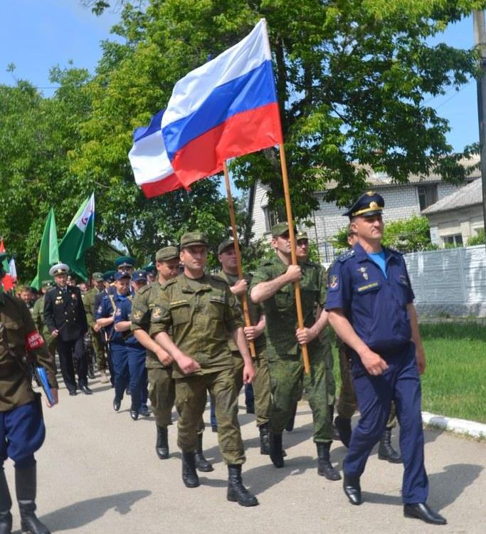 At the unveiling of a new monument to the Soviet Union's KGB borderguards troops in Lenino of occupied Crimea. (Image: reporter-crimea.ru)