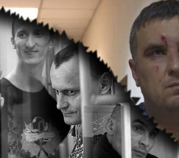"Russia's detention of a ""Ukrainian saboteur"" group in Crimea follows its traditions of hostage-taking. Image: Euromaidan Press (gray: Kremlin hostages Sentsov; Kolchenko; Karpyuk; Lytvynov; color: Yevheniy Panov)"