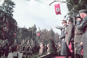 Adolf Hitler hosting the parade in occupied Warsaw after the fall of Poland to German and Soviet military invaders, Oct-5-1939 (Image - Hugo Jager)