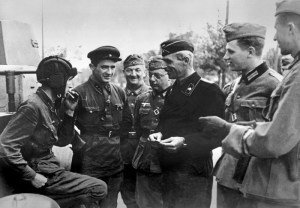 Soviet and German troops in a friendly discussion after suppressing Polish resistance in Brest, Sept. 18, 1939