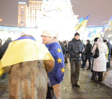 People  at the main square of Kyiv to mark the third anniversary of the Euromaidan revolution.