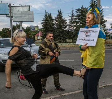 While being imprisoned by Russian mercenaries in occupied Ukrainian city Donetsk, Ukrainian activist Iryna Dovhan endured hours of public humiliation and beatings orchestrated by the representatives of the Russian world unleashed by Putin. (Image: social media)