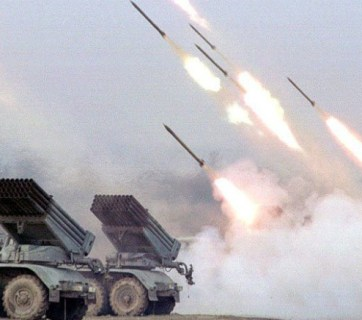"Russian ""Grad"" (Hail) multiple-launch rocket systems firing at Ukrainian positions (Image: mediarnbo.org)"