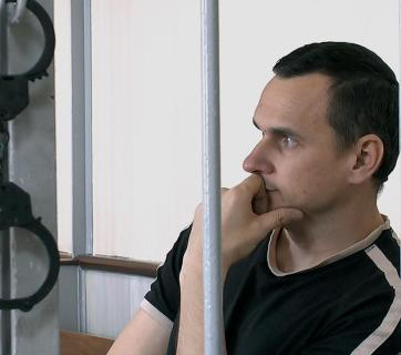 Oleg Sentsov in court. Snapshot from the film