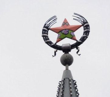 Russian urban climbers overnight transformed a Soviet star on top of a central building in the Russian city of Voronezh into a character from beloved U.S. cartoon show Spongebob Squarepants on October 25, 2016. Spongebob's hapless sidekick Patrick survived in Voronezh only a couple days before the city officials had it painted over. (Image: social media)