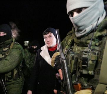 February 24, MP Nadiya Savchenko in occupied Makiivka. Photo: AFP