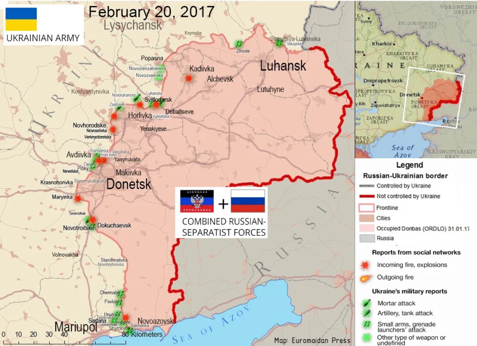 The situation in the Donbas on February 20, 2017, according to reports by local residents on social networks (red) and ATO HQ (green)
