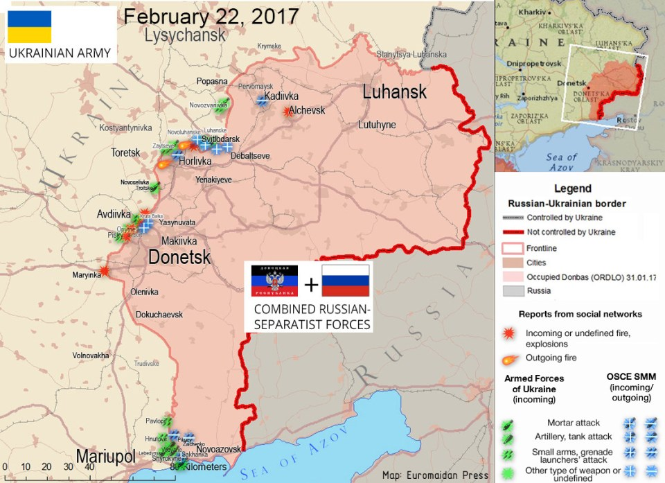 The situation in the Donbas on February 22, 2017, according to reports by local residents on social networks (red), ATO HQ (green), OSCE (blue).