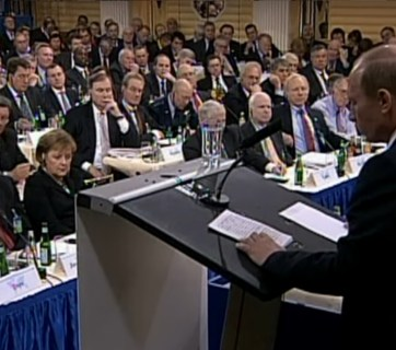 Putin speaking at 2007 Munich Security Conference (Image: video frame)
