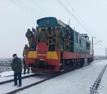 Participants of the trade blockade on a locomotive in Bakhmut Credit: www.facebook.com/ievgen.shevchenko.7