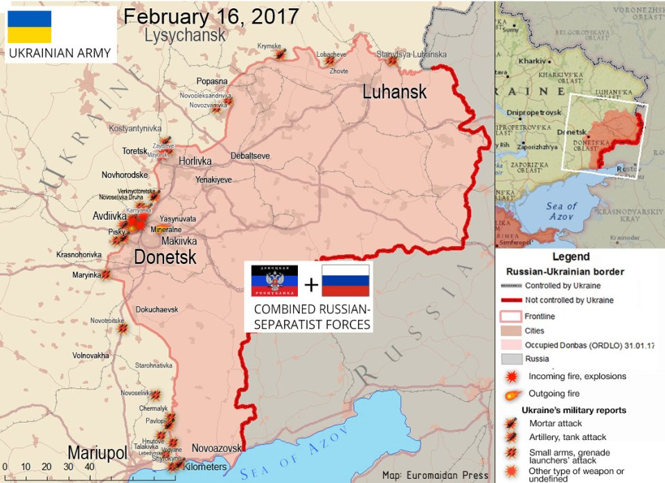 The situation in the Donbas on February 16, 2017, according to reports by local residents on social networks. Update: ATO HQ reports added