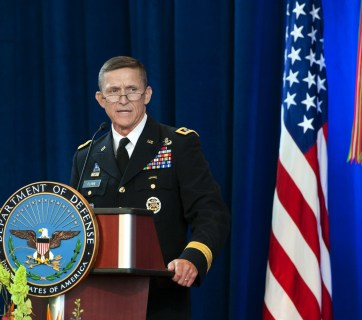 Michael Flynn speaks at the Defense Intelligence Agency change of directorship in 2012. Photo: defense.gov