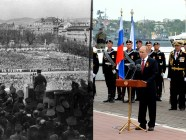 Left: Hitler announces the Anschluss of Austria on the Heldenplatz, Vienna, Austria on 15 March 1938. (Image: Wikipedia) Right: Putin speaking in occupied Sevastopol to celebrate 18 March 2014 anschluss of the Crimean peninsula from Ukraine conducted by Russian military and special forces. May 9, 2014 (Image: kremlin.ru)