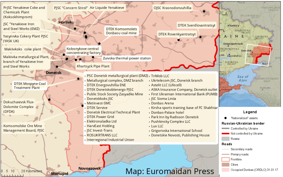 "Ukrainian assests in the Donbas ""nationalized"" by so-called LNR and DNR on March 1, 2017. Map: Euromaidan Press. High-resolution image."