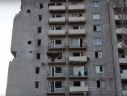 March 11, 2017. #15, Vorobyova St in Avdiivka. A tank struck this house again on March 11. Credit: Ukrainian Military TV on YouTube
