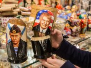 Vladimir Putin and Donald Trump matryoshka dolls for sale in Moscow, Russia (Image: vedomosti.ru)
