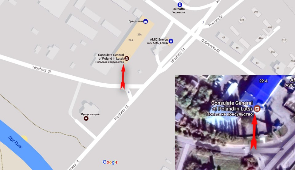 Attack on Poland's consulate general in Lutsk at 00:30 on March 29, 2017. Red arrow shows the direction of the attack. Map: Google Maps