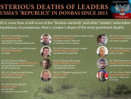 "Deaths of ""separatist leaders"" of Ukraine's occupied territories in a nutshell, EuromaidanPress infographic. High resolution."