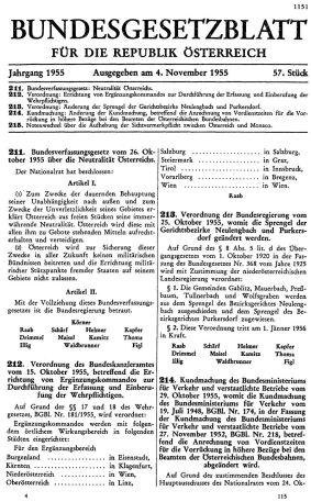 The Bundesgesetzblatt containing the Federal Constitutional Law on the Neutrality of Austria.