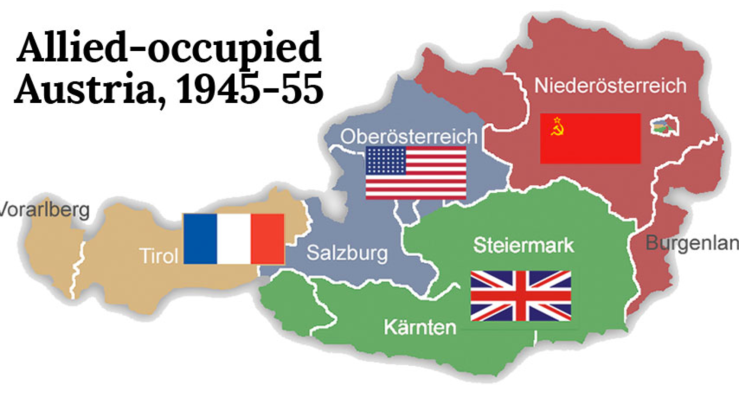 Austria divided between the Allied powers between 1945-1955