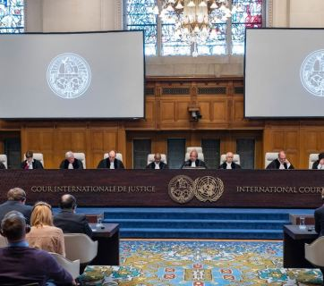 The Members of the Court on 19 April 2017 (Delivery of the Order of the Court).  Copyright: UN Photo/ICJ-CIJ/Frank van Beek