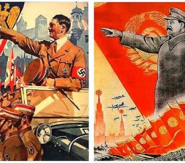 Propaganda images of Hitler's and Stalin's regimes quite often mirrored each other