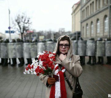 A woman participating in antigovernment rally in Minsk on the Freedom Day, March 25. Photo: nn.by